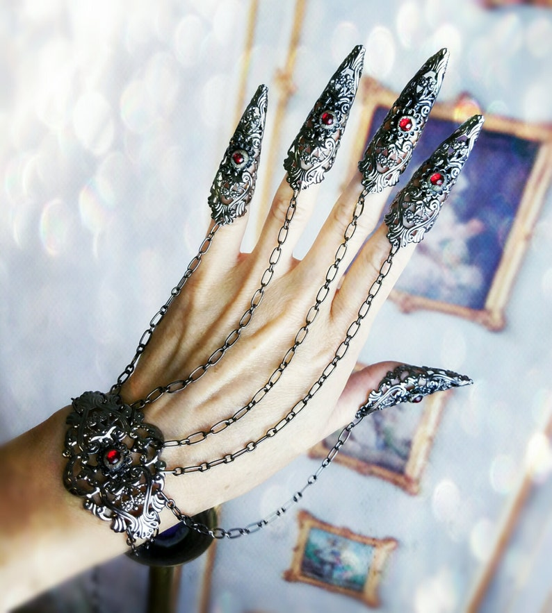 Gothic Claw Rings Nail armor Bracelet Set Made in your Custom image 0