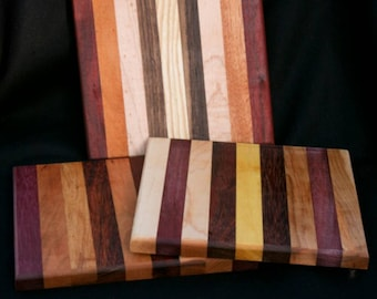 handmade 10 x 8.5  cuttingboard/chopping trivet Butcher block cheese board made from domestic and exotic woods.i will pick one out of stock