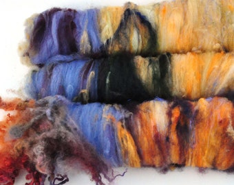 Textured, Chunky Carded Art Batts + Locks - Clifftops - 3.7 ounces - For Spinning or Felting