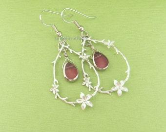Delicate Floral Earrings, Pink Teardrop Bead in Tree Branch w Flowers Pendants, oval w flowers, silvertone hanging hoop twig, silver-tone