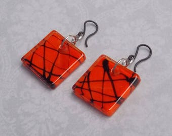 Orange & Black Square Earrings, Plastic Ear Hooks, Hanging Earrings Halloween, Simple Artistic splatter pattern Halloween earring glass tile