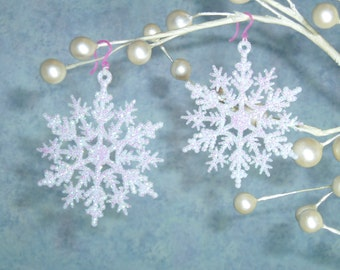 Large Snowflake Earrings, Plastic Ear Hooks, Pink & White and green plastic earrings, Nylon wires, metal allergy Winter Weather Snow Flake