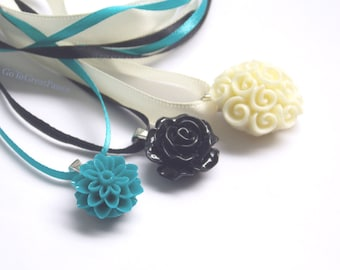 3 Flower Necklaces, Rose, Mum & Rose Bouquet Necklaces, floral resin cabs n ribbons, simple, elegant handmade teal, black off white / cream