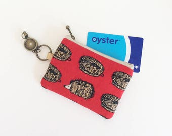 Travel pass case (hedgehog and scrubbrush in red)