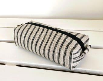 Long box pouch - linen blackstripe