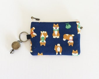 Travel pass case (Shiba-inu in navy)