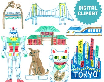 TOKYO JAPAN Digital Clipart Instant Download Illustration Clip Art Watercolor Collage Images City Travel World Vacation Asia Japanese