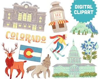 DENVER Colorado Digital Clipart Instant Download Illustration Clip Art Watercolor City Mountain Elk Wolf Skiing Florals Roadtrip Travel