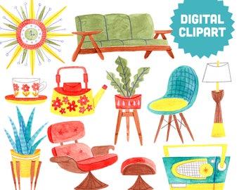 MIDCENTURY MODERN Digital Clipart Instant Download Illustration Mad Men Watercolor 1950s 60s Retro Vintage Furniture Atomic Sputnik Mod 50s