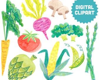 VEGETABLES Digital Clipart Instant Download Illustration Stock Art Watercolor Kitchen Decor Wall Gallery Corn Tomato Carrot Farmer Garden