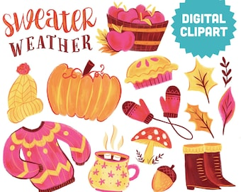 SWEATER WEATHER Digital Clipart Instant Download Illustration Cozy October Fall Autumn Winter Holiday Thanksgiving Hygge Leaves Pumpkin