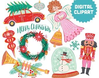 CHRISTMAS TIME Digital Clipart Instant Download Illustration Clip Art Holidays Nutcracker Wreath Angel Tree Snowman Snowglobe Trumpet Bell