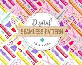 HAIR SALON - Instant Download Digital Seamless Surface Pattern, Custom fabric, Digital paper, Beauty, Hair, Hairbrush, Barber, Scissors Pink