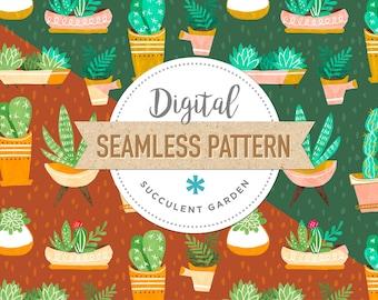 SUCCULENT GARDEN - Instant Download Digital Seamless Surface Pattern, Custom fabric, Digital paper, Cactus Cacti Botanical Floral Plants