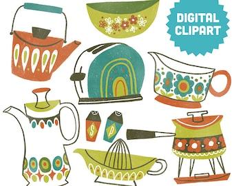 VINTAGE COOKWARE Digital Clipart Instant Download Illustration Collage Ephemera Commercial Retro Midcentury Mod Kitchen Cooking 50s 60s Art