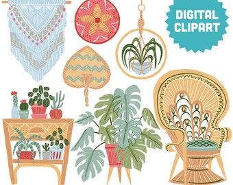 JUNGALOW Digital Clipart Instant Download Illustration Collage Ephemera Commercial Modern Boho Decor Floral Home Furniture Bohemian Art
