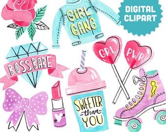 GRL PWR Digital Clipart Instant Download Illustration Collage Ephemera Commercial Watercolor Art Girl Power Feminist Women Girl Gang Lady