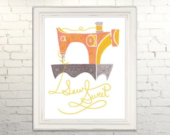 SEW SWEET Printable Instant Download jpg Digital art print poster Vintage Sewing Machine Crafter Fashion Designer Seamstress illustration