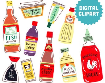 ASIAN SEASONINGS Digital Clipart Instant Download Illustration Watercolor Vietnamese Japanese Sauces Miso Sriracha Soy Fish Oyster Cooking