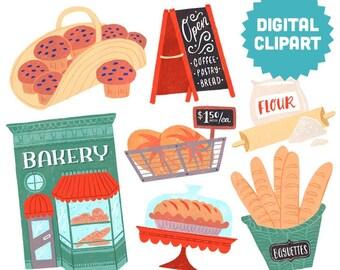 BAKERY Digital Clipart Instant Download Illustration Drawing Art Baked Goods Muffins Bread Shop Storefront Baking Baguette Pie