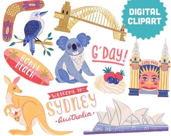 SYDNEY AUSTRALIA Digital Clipart Instant Download Illustration Opera House Koala Kangaroo Kookaburra Boomerang Bondi Beach Luna Park Travel