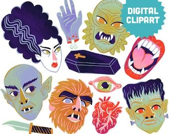 VINTAGE HORROR Digital Clipart Instant Download Illustration Art Printable Vampire Classic Monsters Werewolf Creature Lagoon Frankenstein