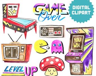 RETRO GAMER Digital Clipart Instant Download Illustration Watercolor Clip Art Collage Arcade Videogame Pinball Pacman 80s 90s Nintendo