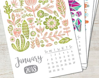 COLLECTIONS Printable Desk Calendar 2018 2019 Instant Download Illustration Handpainted Pattern Art PDF Wall Decor Monthly Yearly Planner
