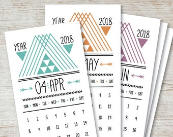 ARROWS Printable Monthly Calendar 2018 2019 Digital Instant Download Hipster Tribal Aztec Native American Downloadable Monthly Planner