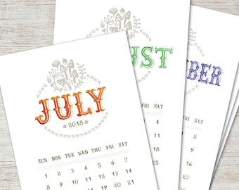 LOMBARDO Printable Calendar 2018 2019 Digital Instant Download Watercolor Painted Handlettering Monthly Vintage Planner Downloadable PDF