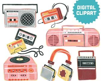 80s RETRO MUSIC Digital Clipart Instant Download Illustration Graphics Ephemera Cassette Tape Headphones Vintage Boombox Electronics Record