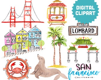 SAN FRANCISCO Digital Clipart Instant Download Illustration Clip Art Watercolor City Golden Gate Bridge Painted Ladies California Roadtrip