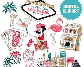LAS VEGAS Digital Clipart Instant Download Illustration Watercolor Commercial Use Gambling Casino Nevada City Skyline Dice Slot Machine