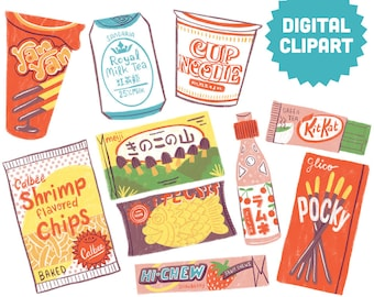 ASIAN SNACKS Digital Clipart Instant Download Illustration Clip Art Watercolor Japanese Pocky Ramune YanYan Food Cup Noodle Ramen Candy
