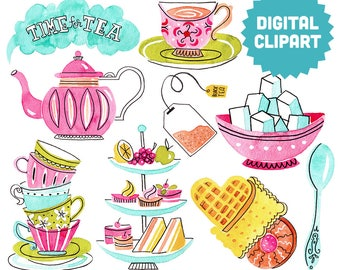 TEA TIME Digital Clipart Instant Download Illustration Watercolor Clip Art Collage Printable English High Tea British Cuppa Coffee Afternoon