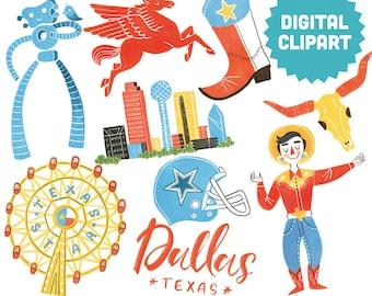 DALLAS Digital Clipart Instant Download Illustration Travel City Skyline Texas Lone star State Cityscape Big Tex Longhorn Cowboys Art