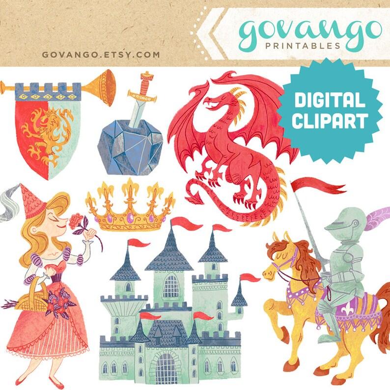 Medieval Times Digital Clipart Instant Download Illustration Etsy