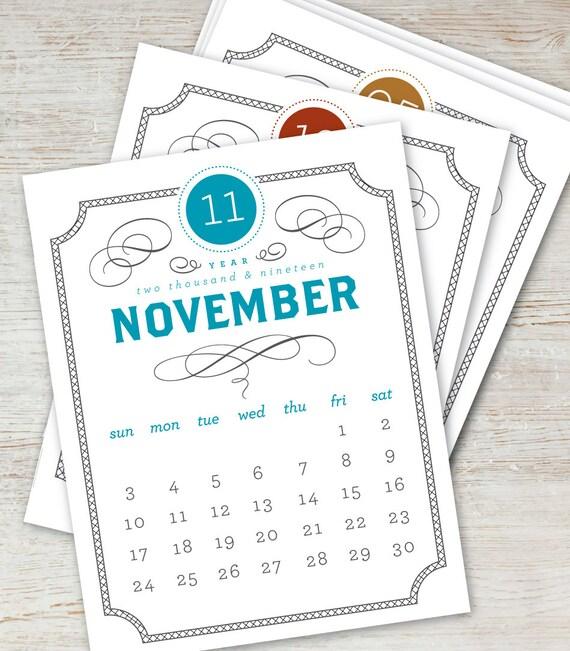vintage printable desk calendar 2019 2020 digital instant