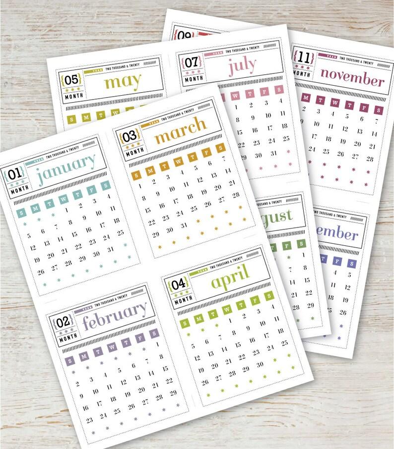 MATCHBOX Printable Mini Calendar 2020 2021 Digital Instant ...