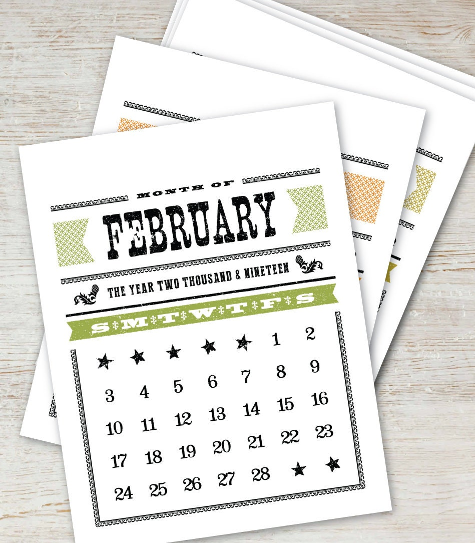 2019 2020 Floral Desk Calendar: WOODTYPE Printable Calendar 2019 2020 Instant Download