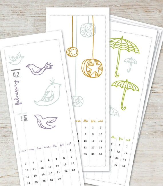 2019 2020 Floral Desk Calendar: ILLUSTRATED Printable Desk Calendar 2019 2020 Digital