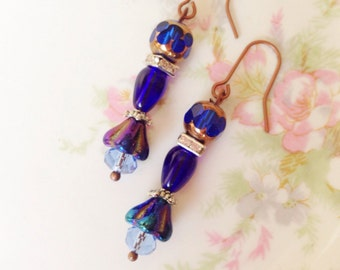 Copper and Blue Czech Glass Flower and Rhinestones Beaded Earrings with Surgical Steel Ear Wires