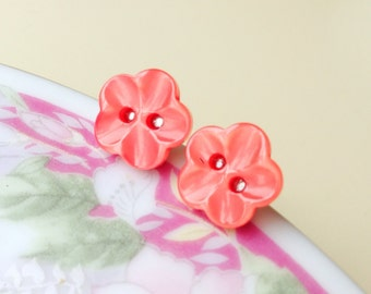 Red Flower Earrings, Pearly Light Red Flower Post Earrings with Scooped Petals, Button Studs, Button Post Earrings, KreatedByKelly (LB1)
