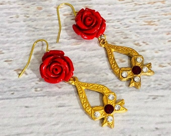 Gorgeous Heavily Carved Red Rose Earrings with Vintage Filigree Rhinestone Bow Finding