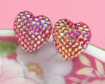Pink Sparkly Heart Stud Earrings with Surgical Steel Studs