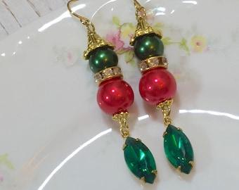 Fancy Christmas Earrings, Holiday Jewelry, Red and Green Earrings, Rhinestone Earrings, Christmas Wedding Earrings, Estate Jewelry (DE2)