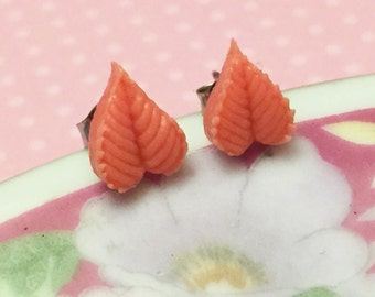 Coral Pink Detailed Leaf Stud Earrings Made with Vintage Cabochons and Surgical Steel Studs