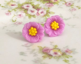 Lavender Poppy Heavily Carved and Detailed Flower Stud Earrings with Surgical Steel Posts (SE10)
