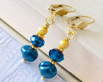 Regal Blue Beaded Earrings with Gold Toned Findings and Vintage Inspired Leaf Lever Back Ear Wires