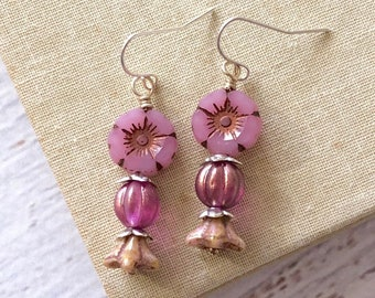 Czech Glass Flower Earrings, Hibiscus Flower in Romantic Pink and Tan with Silver Toned Accents and Stainless Steel Ear Wires (DE4)